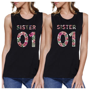 Sister 01 BFF Matching Black Muscle Tops