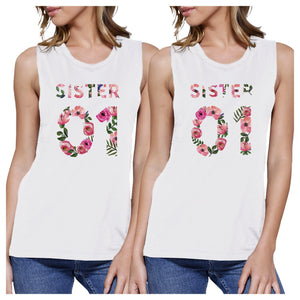 Sister 01 BFF Matching White Muscle Tops