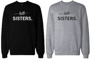 Matching BFF Black and Grey BFF Sister Sweatshirts for Best Friends