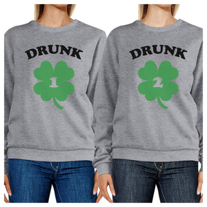 Drunk1 Drunk2 Funny Graphic Matching Sweatshirts For Best Friends