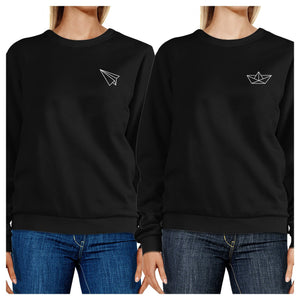 Origami Plane And Boat BFF Matching Black Sweatshirts