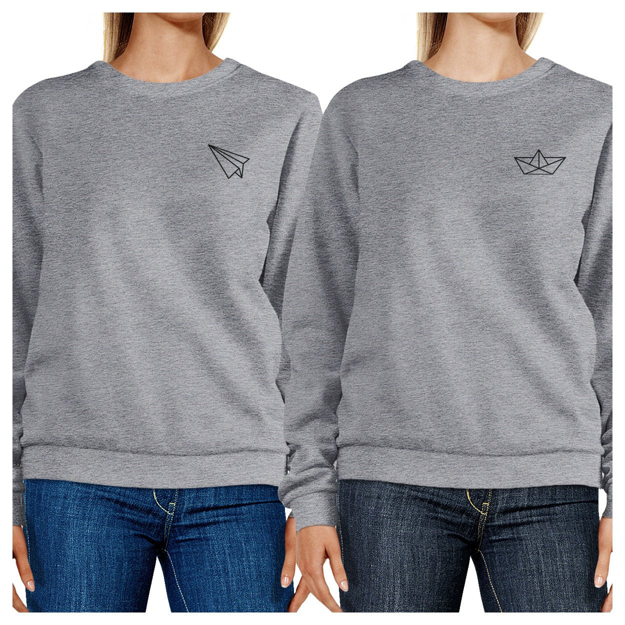 Origami Plane And Boat BFF Matching Grey Sweatshirts