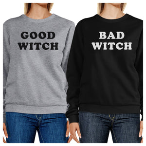 Good Witch Bad Witch BFF Matching Grey and Black Sweatshirts