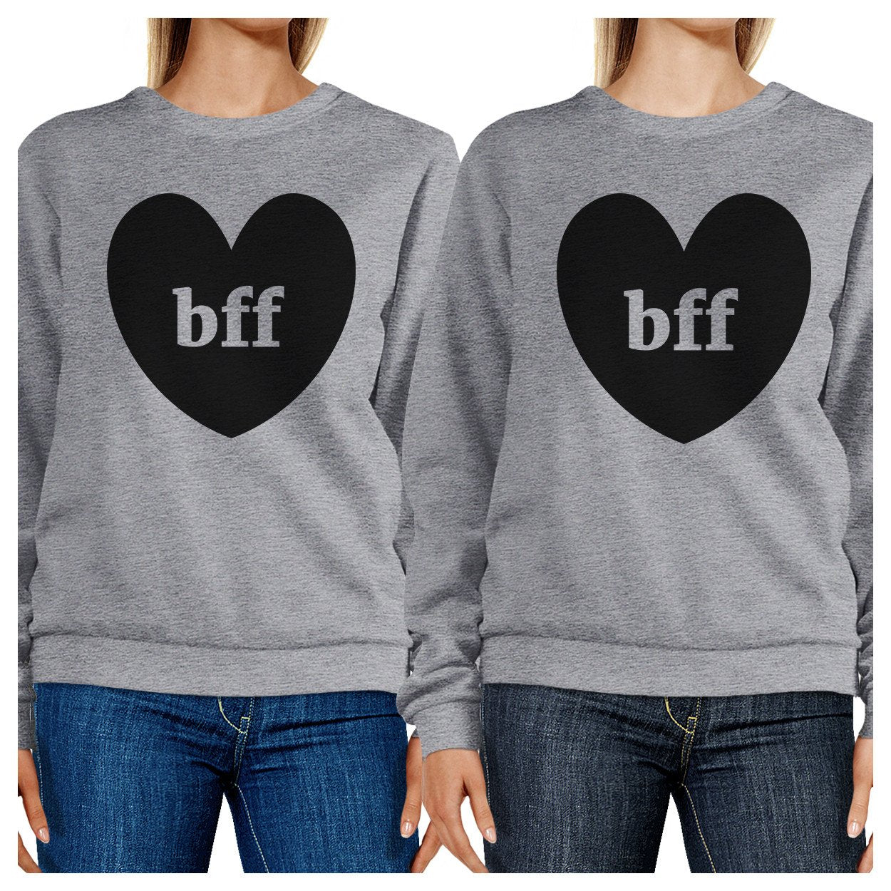 Bff Hearts BFF Matching Grey Sweatshirts