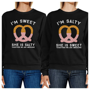 Sweet And Salty BFF Matching Black Sweatshirts