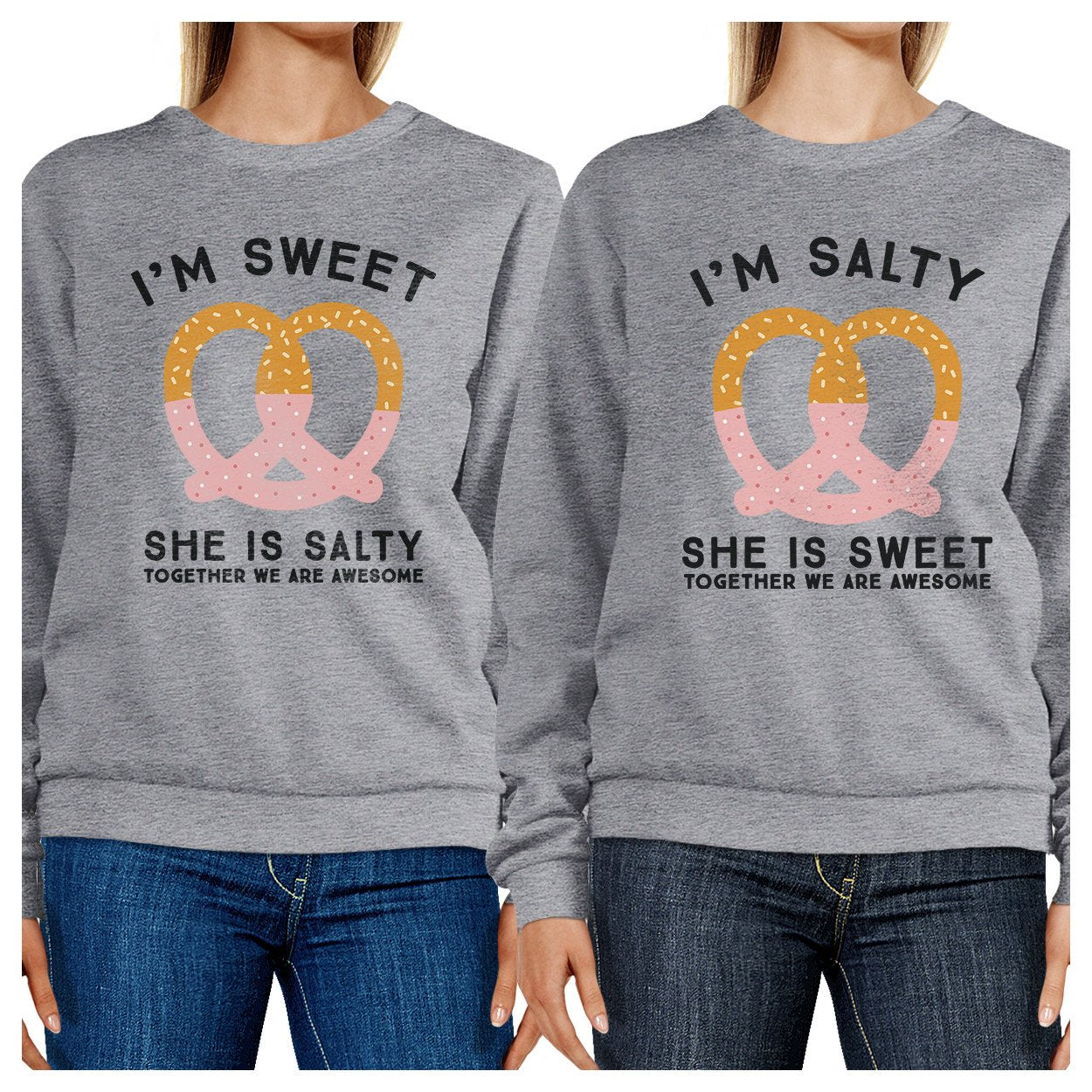 Sweet And Salty BFF Matching Grey Sweatshirts