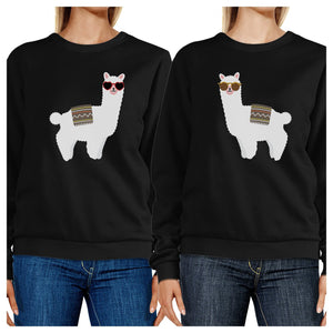 Llamas With Sunglasses BFF Matching Black Sweatshirts