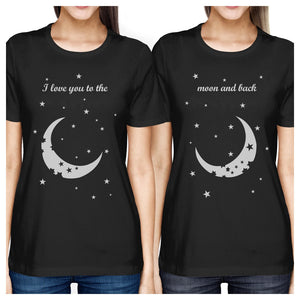 Moon And Back BFF Matching Shirts Womens Black Gift For Friends