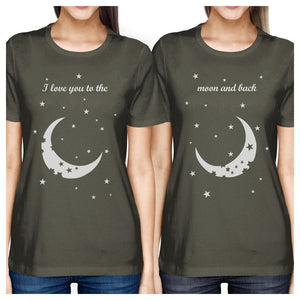 Moon And Back BFF Matching Shirts Womens Cool Grey Birthday Gifts