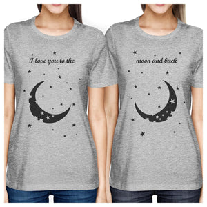 Moon And Back BFF Matching Shirts Womens Grey Graphic Cotton Tee