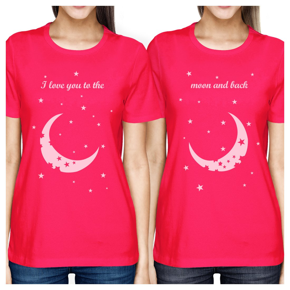 Moon And Back BFF Matching Shirts Womens Hot Pink Best Friend Gifts