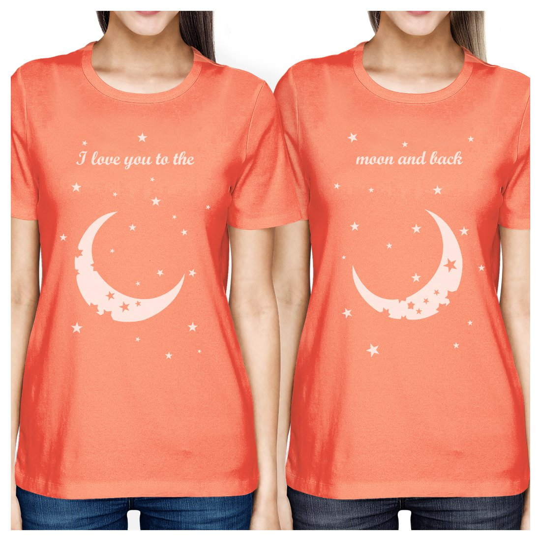 Moon And Back BFF Matching Shirts Womens Peach Best Friend Gifts