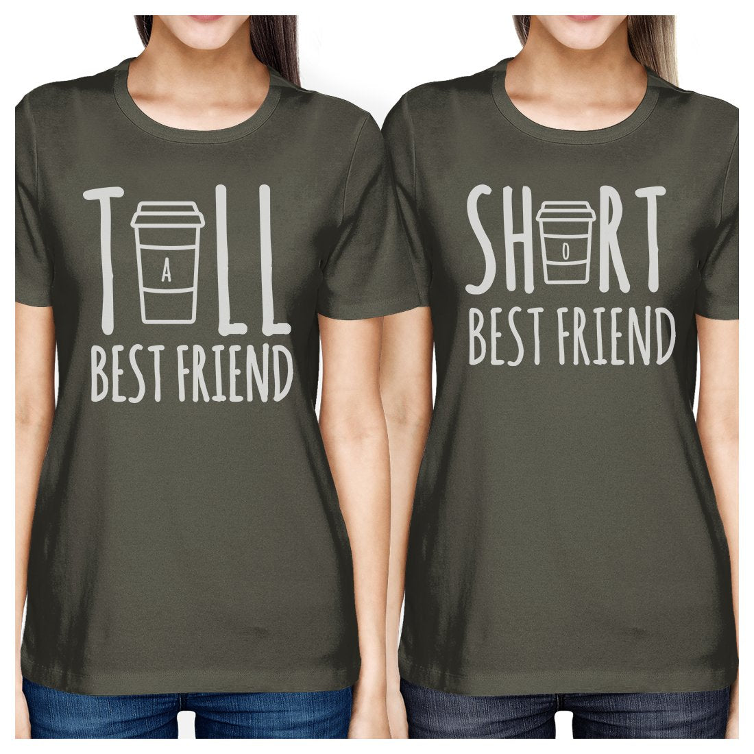 Tall Short Cup BFF Matching Shirts Womens Cool Grey Crewneck Tee