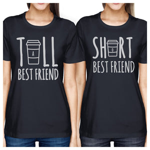 Tall Short Cup BFF Matching Shirts Womens Navy Graphic Cotton Tee