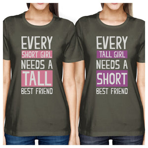 Tall Short Friend BFF Matching Shirts Womens Cool Grey Cotton Tee