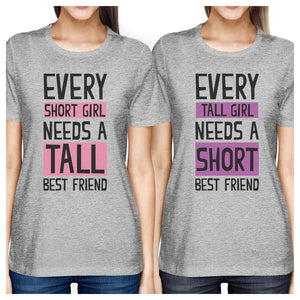 Tall Short Friend BFF Matching Shirts Womens Grey Short Sleeve Tee