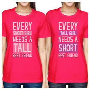 Tall Short Friend BFF Matching Shirts Womens Hot Pink For Friends
