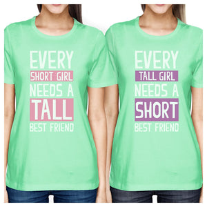 Tall Short Friend BFF Matching Shirts Womens Mint Teen Girls Gifts