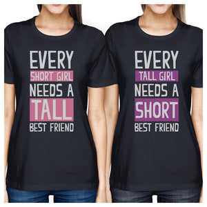 Tall Short Friend BFF Matching Shirts Womens Navy Gift For Friends