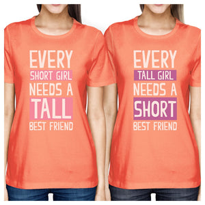 Tall Short Friend BFF Matching Shirts Womens Peach Gift For Girls
