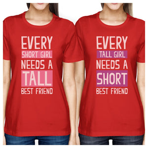 Tall Short Friend BFF Matching Shirts Womens Red Birthday Gifts