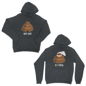 Poop Shit Got Real Dark Grey Matching Couple Hoodies For Christmas