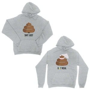 Poop Shit Got Real Grey Matching Couple Hoodies Cute Wedding Gift
