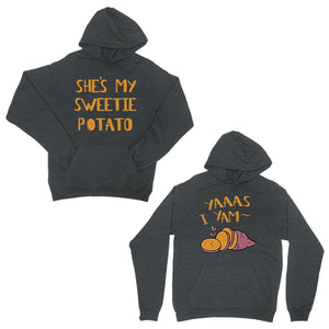 Sweet Potato Yam Dark Grey Matching Couple Hoodies For Christmas