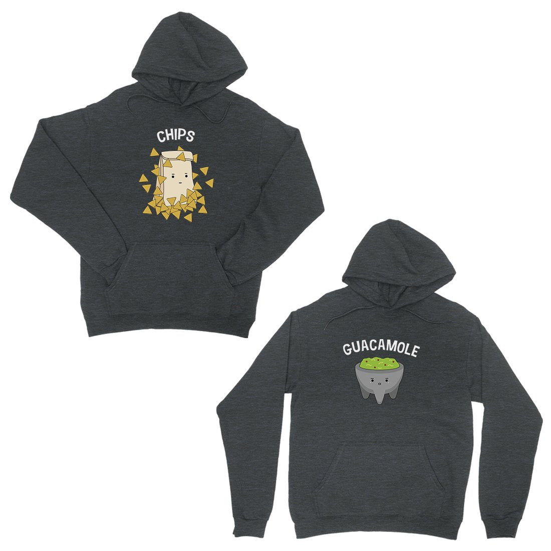 Chips & Guacamole Dark Grey Matching Couple Hoodies For Newlyweds