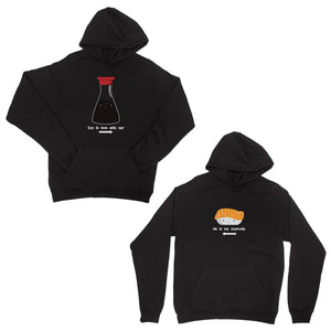 Sushi & Soy Sauce Black Matching Couple Hoodies Funny Wedding Gift