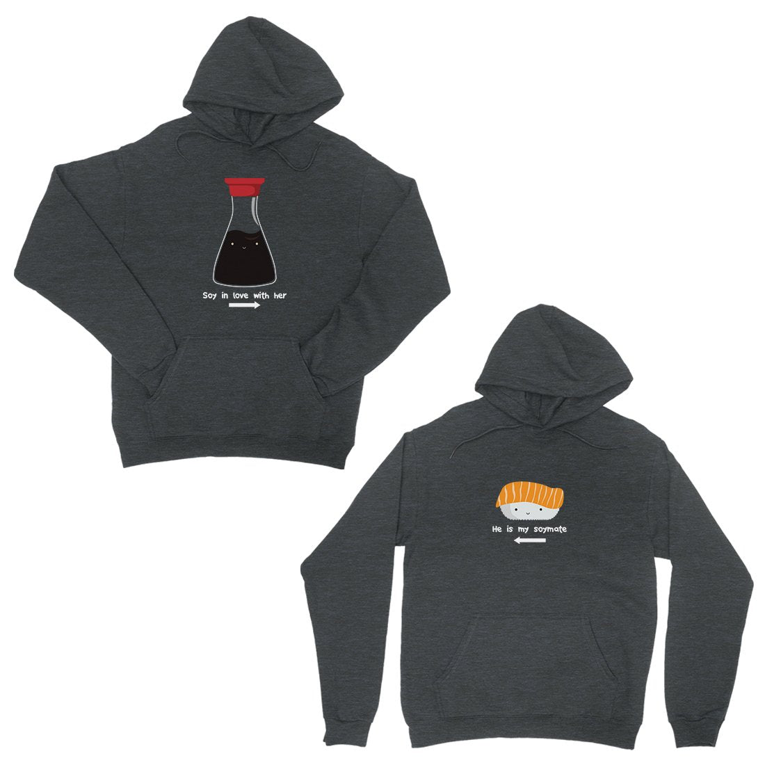 Sushi & Soy Sauce Dark Grey Matching Couple Hoodies For Christmas