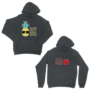 Pineapple Apple Dark Grey Matching Couple Hoodies For Christmas