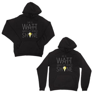 Watt World Shine Light Black Matching Couple Hoodies Gift For Her