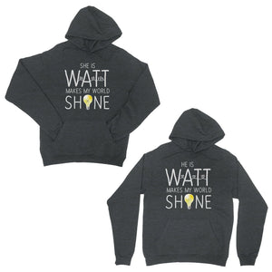 Watt World Shine Light Dark Grey Matching Couple Hoodies Gift