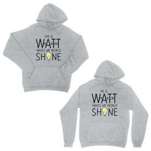 Watt World Shine Light Grey Matching Couple Hoodies Gift For Him