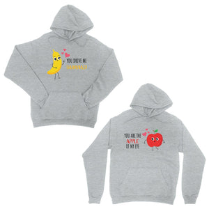 Drive Me Bananas Grey Matching Hoodies Pullover For Valentine's Day