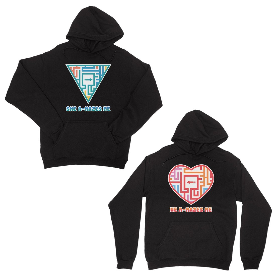 A-Mazes Me Black Matching Hoodies Pullover Unique Couples Gifts