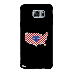 USA Map American Flag Black Phone Case