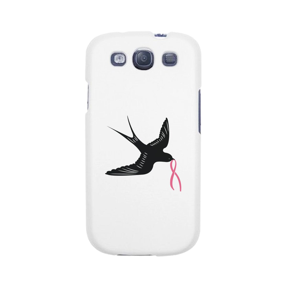 Pink Ribbon And Swallows Birds White Phone Case