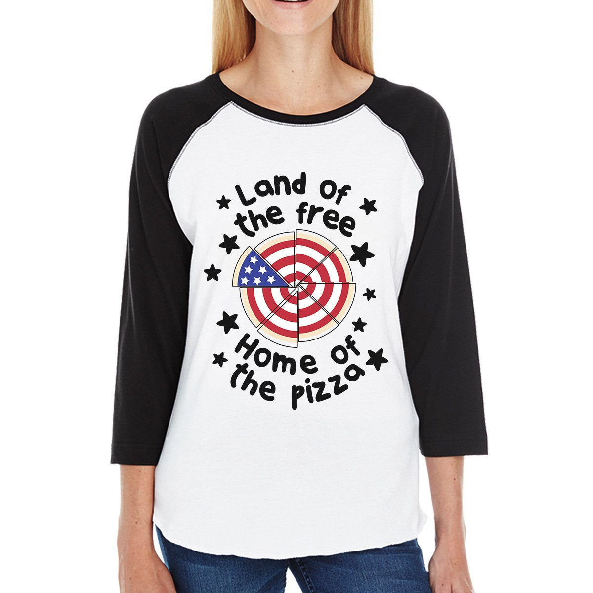 Land Of The Free Womens 3/4 Sleeve Baseball Tee For Pizza Lovers