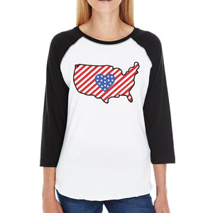 USA Map Womens Cotton Baseball Tee Cute Gift Idea For Army Wives