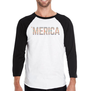 'Merica Mens Baseball Jersey For Independence Day Tribal Pattern