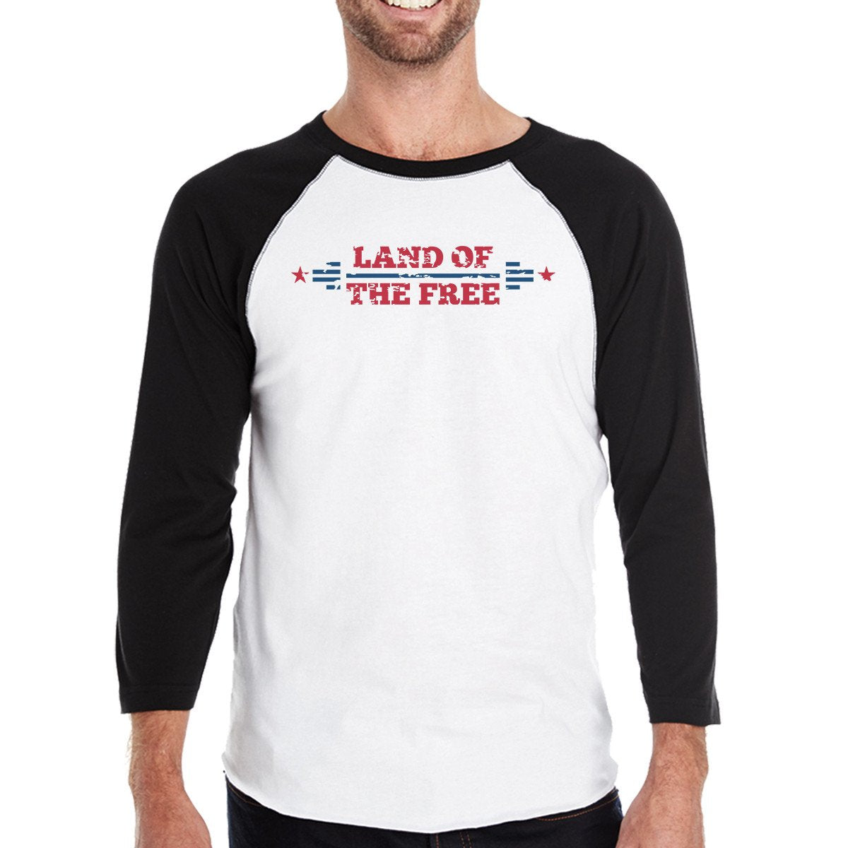 Land Of The Free Mens Black Baseball Tee Shirt 3/4 Sleeve Jersey