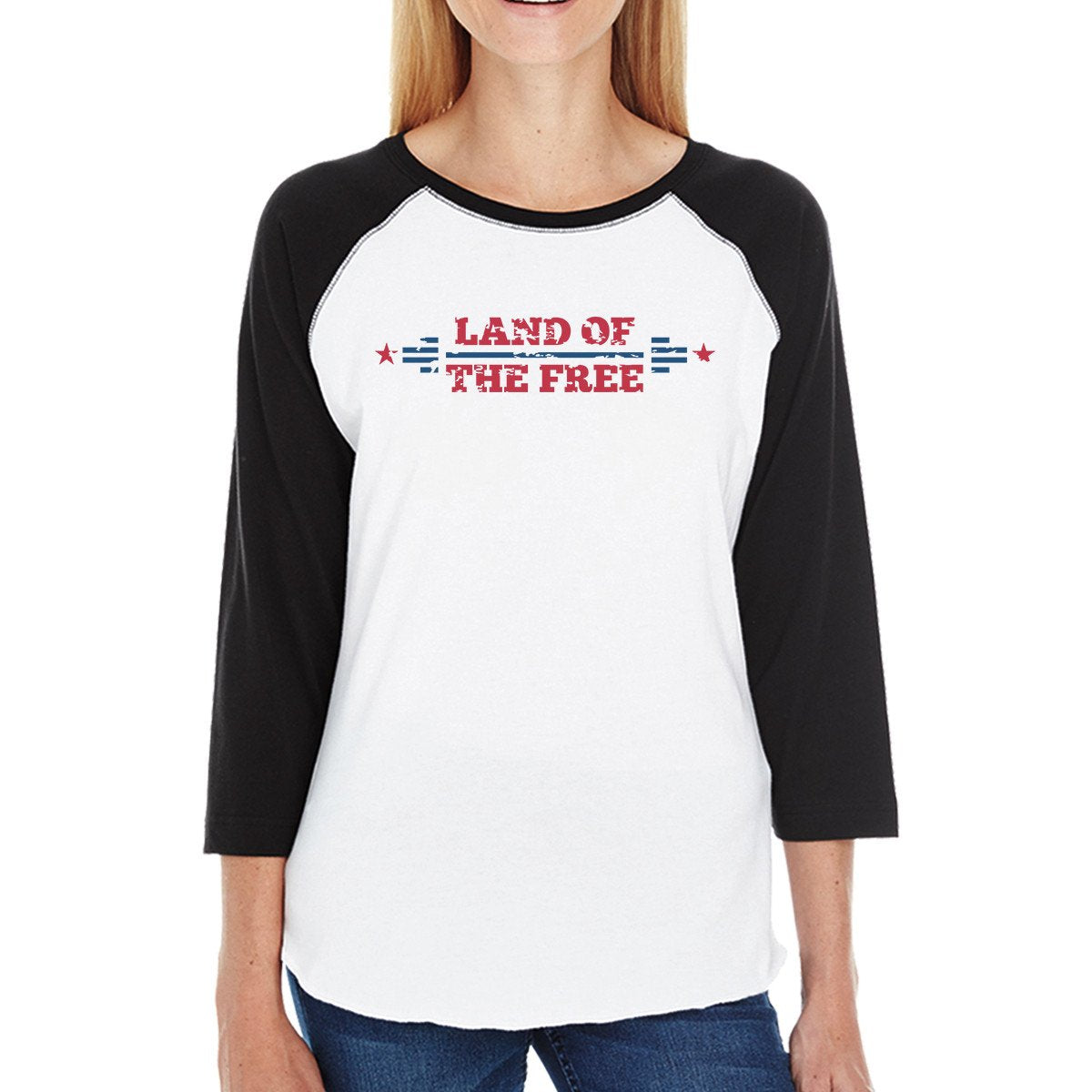 Land Of The Free Womens Black Baseball Tee Shirt 3/4 Sleeve Jersey