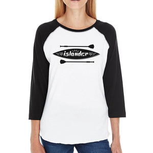 Islander Paddle Board Womens Cotton Baseball Shirt Crewneck Raglan