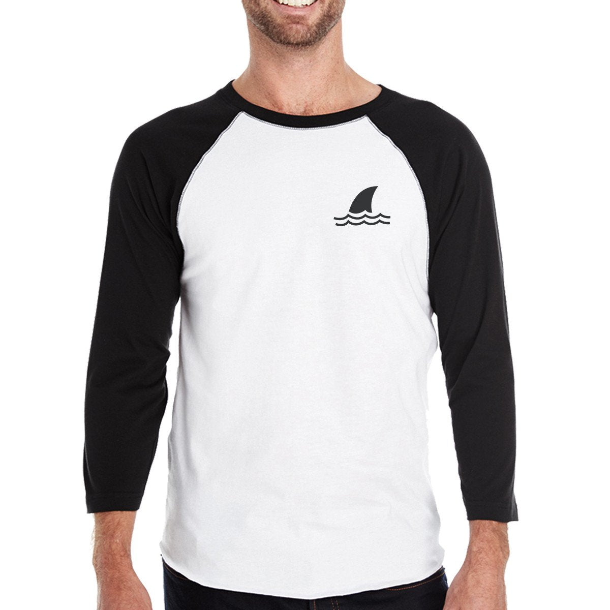 Mini Shark Mens Black And White Summer Graphic Baseball Tee Shirt