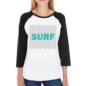 Surf Waves Lightweight Cotton 3/4 Sleeve Raglan Gift For Surf Lover
