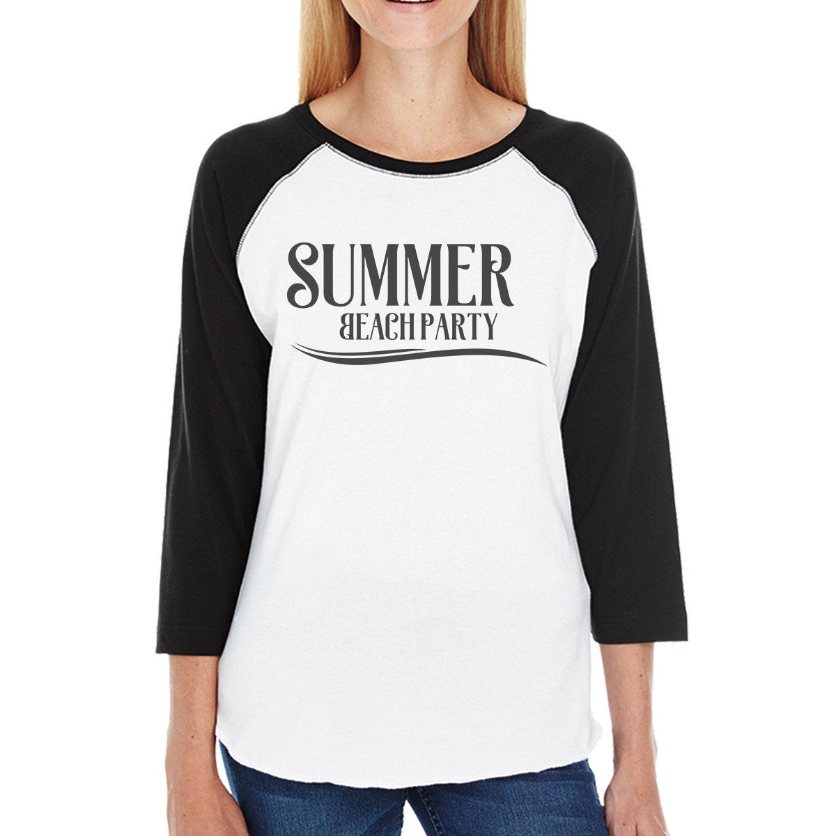 Summer Beach Party Womens Black And White Baseball Shirt