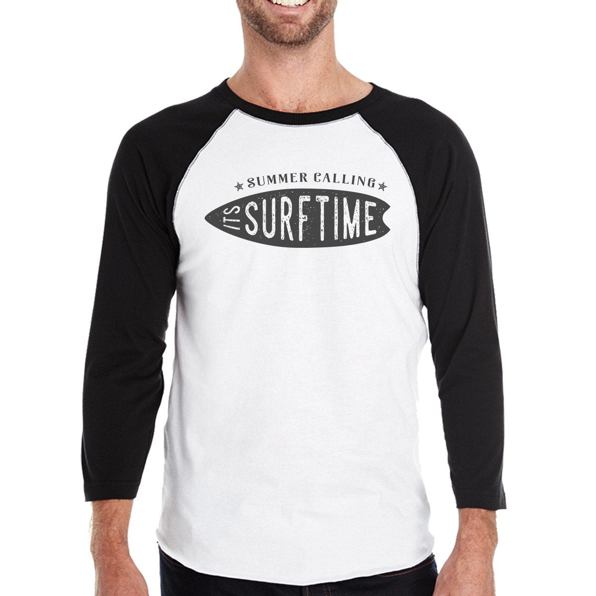 Summer Calling It's Surf Time Mens Black And White Baseball Shirt