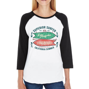 Superior Surfer Los Angeles Longboard Womens Black And White Baseball Shirt